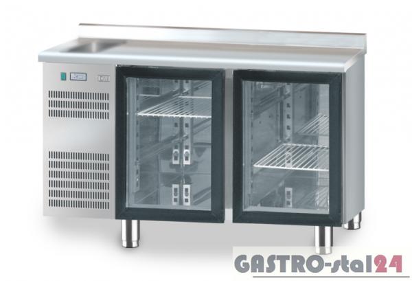 Stół chłodniczy z drzwiami przeszklonymi z zlewozmywakiem z płytą wierzchnią nierdzewną DM 91005 1325x600x850