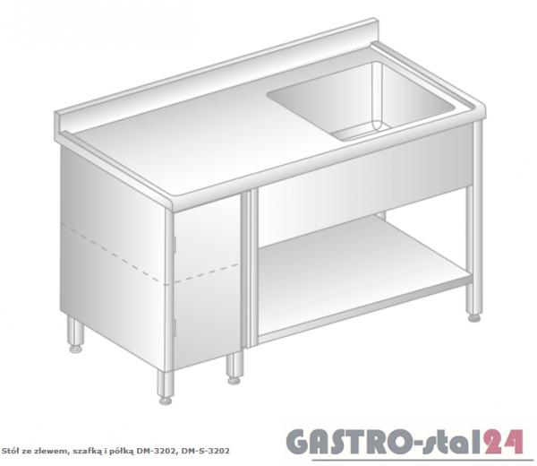 Stół ze zlewem, szafką i półką DM 3202 szerokość: 600 mm  (1000x600x850)