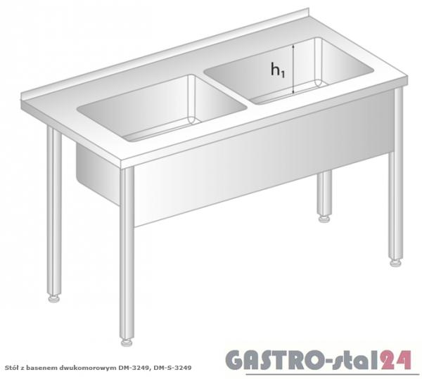 Stół z basenem dwukomorowym DM 3249 szerokość: 600 mm, głębokość: 300 mm (1200x600x850)