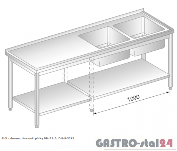 Stół z dwoma zlewami i półką DM 3213 szerokość: 700 mm  (1400x700x850)