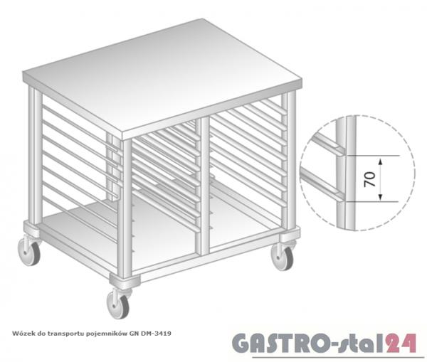 Wózek do transportu pojemników 2x2/1GN DM 3419 szerokość: 700 mm (1200x700x850)