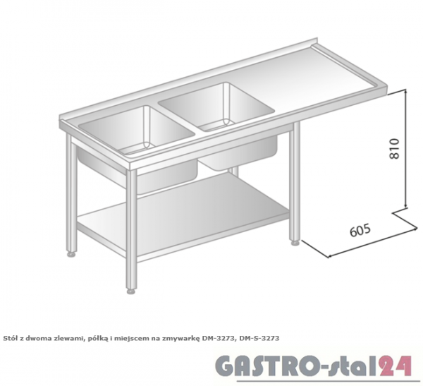 Stół z dwoma zlewami, półką i miejscem na zmywarkę DM 3273 szerokość: 600 mm  (1800x600x850)