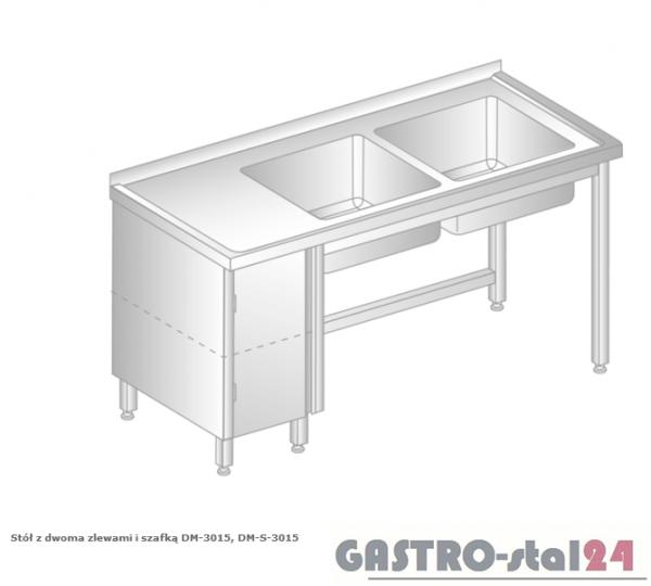 Stół z dwoma zlewami i szafką DM 3015 szerokość: 600 mm  (1400x600x850)