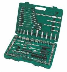 Zestaw 120-częściowy kluczy nasadowych 1/4, 3/8, 1/2 metrycznych i calowych z kluczami płasko-oczkowymi SATA 09014