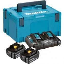 Zestaw zasilający Makita 2x Akumulator 5.0Ah, ładowarka DC18RD, Makpac 3