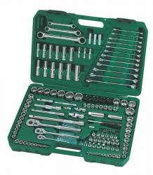 Zestaw 150-częściowy kluczy nasadowych 1/4, 3/8, 1/2 metrycznych i calowych z kluczami płasko-oczkowymi SATA 09510