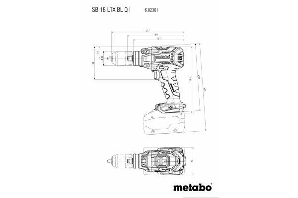 Wiertarko-wkrętarka udarowa Metabo SB 18 LTX BL Quick Impuls 2x 5.5Ah 18 V  LiHD 602361660