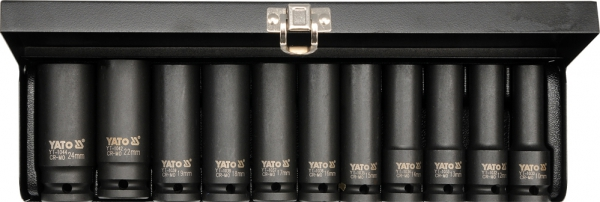 Nasadki udarowe długie kpl 1/2'' 11 cz. Yato YT-1054
