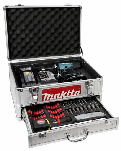 Akumulatorowa wiertarko-wkrętarka udarowa z zestawem akcesoriów Makita  DHP453SYEX  18V w metalowej walizce