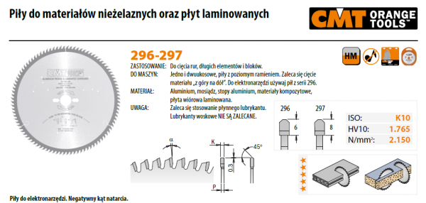 Piła tarczowa CMT 297.081.10M Piła HW D=254 F=30 Z=80 K=3,2/2,5 {|-5°