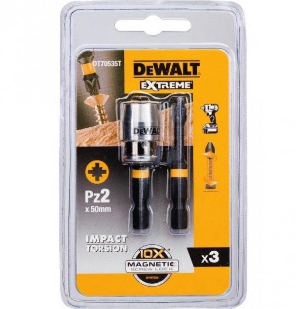 Zestaw 2 bitów PZ2 + uchwyt magnetyczny DeWALT DT70535T 50 mm
