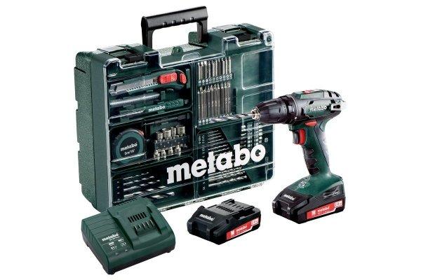 METABO wiertarka wkrętraka BS 18 SET + SC 60 Plus 74 szt osprzętu 2x2.0Ah 18V