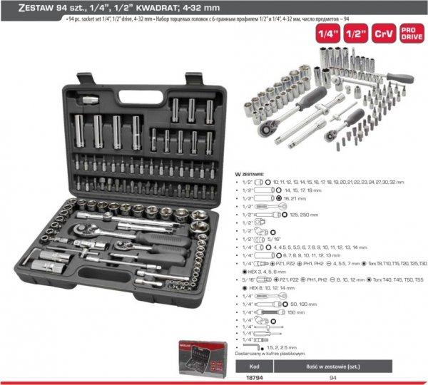 """Proline zestaw kluczy nasadek bitów 94 sztuk 1/4"""" 1/2"""" 18794"""