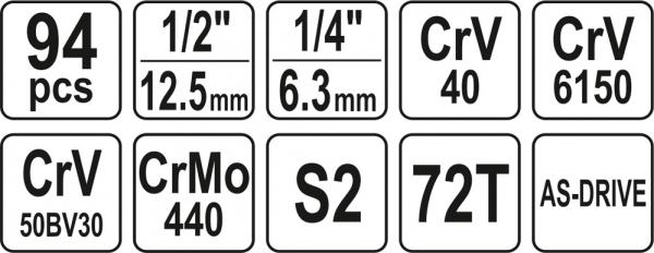 Zestaw kluczy nasadowych Yato YT-12681 94cz