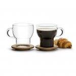 Sagaform OVAL OAK Szklanki do Kawy lub Herbaty z Dębowymi Podstawkami