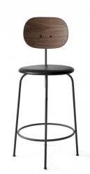 Menu AFTEROOM Krzesło Barowe 92 cm Hoker Czarny Tapicerowany - Czarna Skóra Naturalna - Oparcie Drewno Orzech