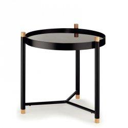 Kela OAK Okrągły Stolik ze Szklanym Blatem 45 cm Czarny