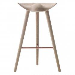 by Lassen ML42 Krzesło Barowe -- Hoker 77 cm Dębowy / Poprzeczka Srebrna