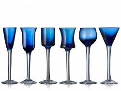 Lyngby Glass AQUAVIT Kieliszki do Wódki, Likieru 6 Szt. Niebieskie