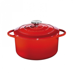Küchenprofi PROVENCE Garnek Żeliwny z Pokrywką 28 cm Czerwony