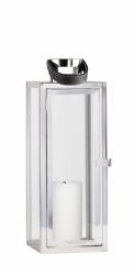 Villa Collection NORDIC Lampion ze Skórzanym Uchwytem 39 cm Srebrny