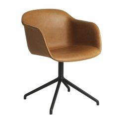Muuto FIBER ARMCHAIR SWIVEL BASE Krzesło Obrotowe - Czarne - Siedzisko Tapicerowane Brązową Skórą / Metalowa Rama
