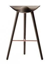 by Lassen ML42 Krzesło Barowe -- Hoker 77 cm Dąb Ciemnobrązowy / Poprzeczka Miedziana