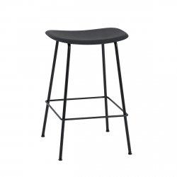 Muuto FIBER Hoker - Stołek Barowy 65 cm Czarny / Metalowa Rama