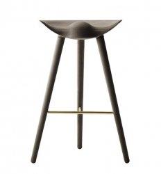 by Lassen ML42 Krzesło Barowe -- Hoker 77 cm Dąb Ciemnobrązowy / Poprzeczka Złota
