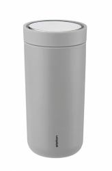 Stelton TO GO CLICK Stalowy Kubek Termiczny 400 ml Jasnoszary Soft Light Grey