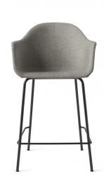 Menu HARBOUR Krzesło Barowe 102 cm Hoker Czarny - Siedzisko Tapicerowane Szare