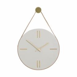 Hübsch CLOCK Betonowy Zegar Ścienny na Skórzanym Pasku