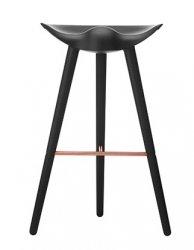 by Lassen ML42 Krzesło Barowe -- Hoker 77 cm Czarny / Poprzeczka Miedziana