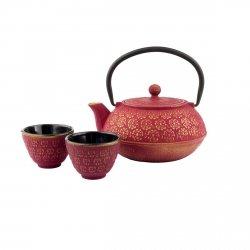 Bredemeijer G015PG Dzbanek Żeliwny - Zaparzacz do Herbaty 0,6 l Czerwony + 2 Porcelanowe Czarki
