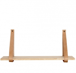 Hubsch STRAP Drewniana Półka Ścienna ze Skórzanymi Uchwytami