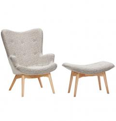 Hübsch RECLINER Fotel z Podnóżkiem - Szary Melanż