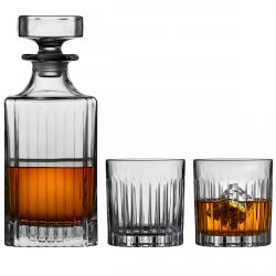 Lyngby Glass MAYFAIR Kryształowa Karafka i Szklanki - Zestaw do Whisky 360 ml