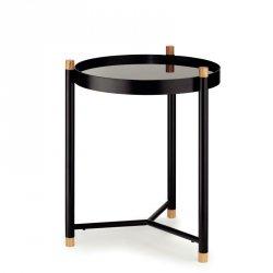 Kela OAK Okrągły Stolik ze Szklanym Blatem 40 cm Czarny