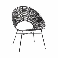 Hübsch LOUNGE Krzesło Ratanowe - Czarne