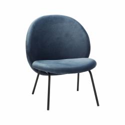 Hübsch LOUNGE Fotel - Niebieski Welur