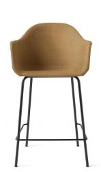 Menu HARBOUR Krzesło Barowe 102 cm Hoker Czarny - Siedzisko Tapicerowane Miodowe
