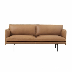 Muuto OUTLINE Sofa 2-Osobowa - Brązowa Skóra Cognac / Czarne Nogi