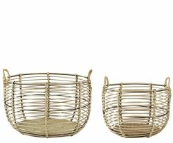 Villa Collection SCANDI Kosz do Przchowywania - Zestaw 2 Dużych Koszy Bambusowych