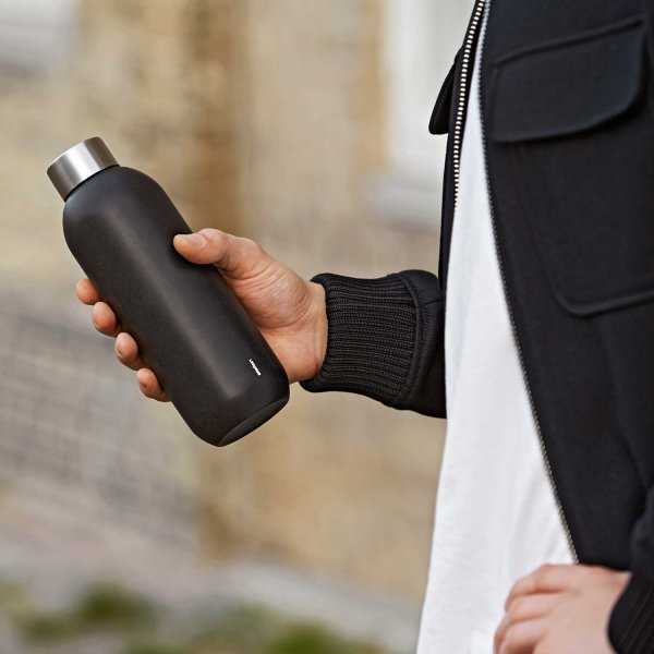 Stelton KEEP COOL Stalowa Butelka do Wody 600 ml Czarna