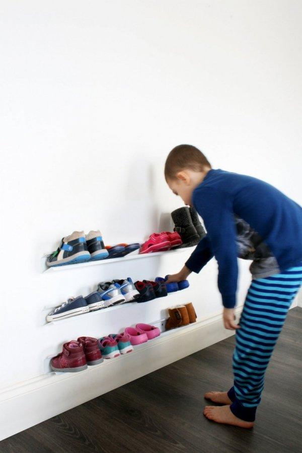 J-me NEST Listwa Ścienna na Buty dla Dzieci - Biała