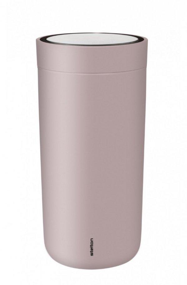 Stelton TO GO CLICK Stalowy Kubek Termiczny 400 ml Różowy Soft Lavender