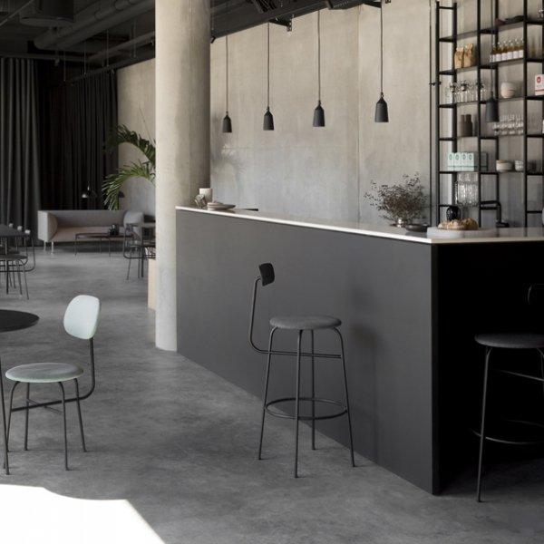 Menu AFTEROOM Krzesło Barowe 102 cm Hoker Czarny Tapicerowany - Tkanina Savanna