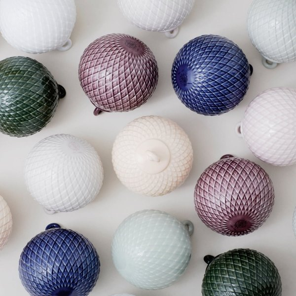 Lyngby Porcelain RHOMBE Bombka Porcelanowa - Biała
