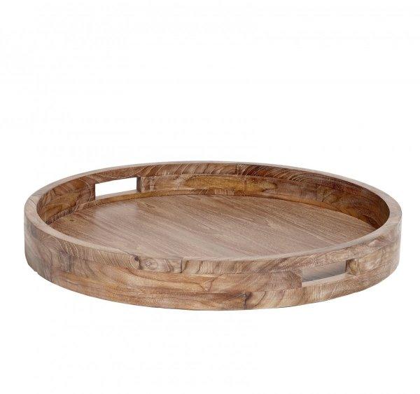 Hübsch Okrągła Taca z Drewna Tekowego 65 cm