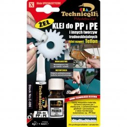KLEJ ŻEL DO PP, PE I PTFE 4G+4ML  TECHNICQLL